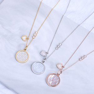 Michael Kors Round Disc Love Pendant Necklace
